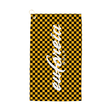 black and yellow check print logo golf towel