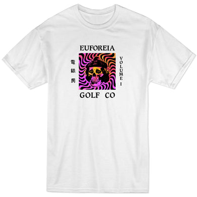 streetwear inspired white t with euforeia golf logo and a skull