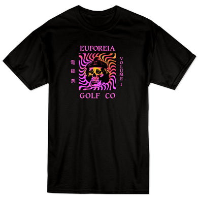 streetwear inspired black t with euforeia golf logo and a skull
