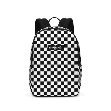 black and white motocross inspired check print canvas backpack