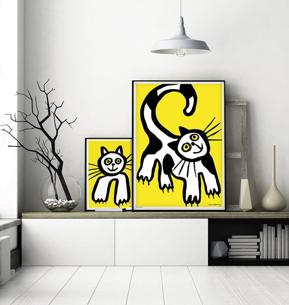 Black and White Cat in Yellow Poster