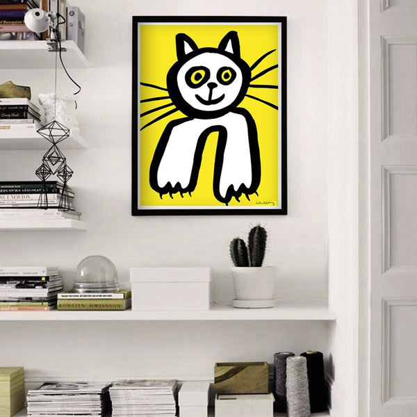 Kitty Cat in Yellow Poster