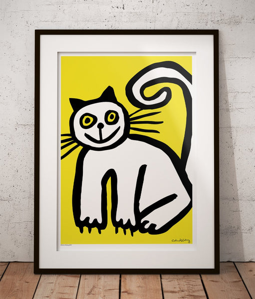 Happy Cat in Yellow Poster