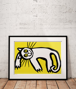 Lazy Cat in Yellow Poster