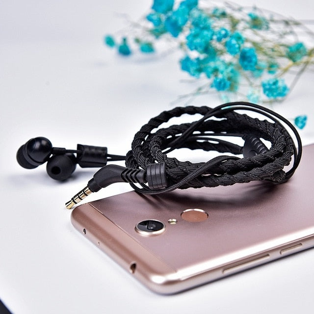 Artisome Wired Bracelet Earphone With Microphone 3.5mm Fabric Braided Earphone For Phone Headphones For iPhone Adroid