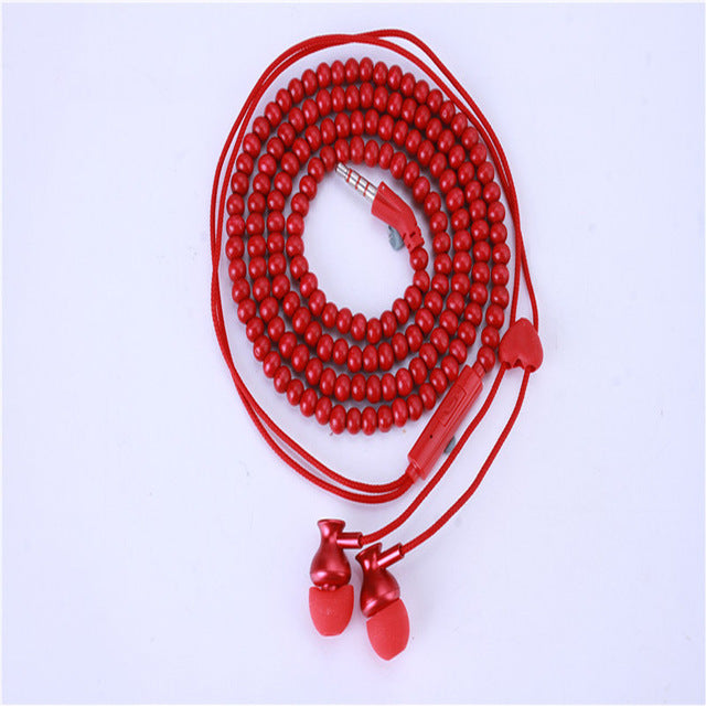 Fashion Bracelet Earphone Wooden Beads Stereo in-ear Earbuds Noise Canceling With Microphone for Mobile Phone Mp3 Gifts