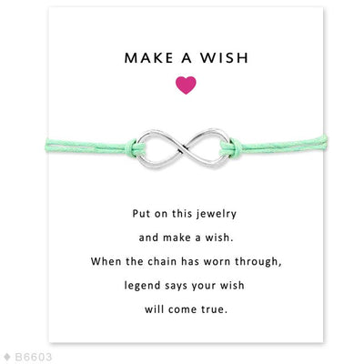 Girls Adjustable Friendship Engagement Wedding Bridesmaid Jewelry with Card Infinity Love Make a Wish Charm Bracelets for Women