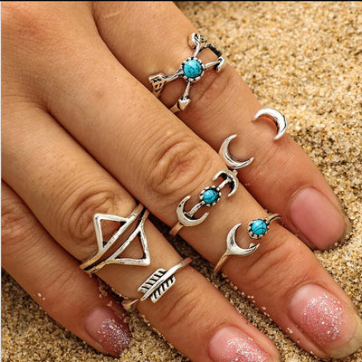 RscvonM  New 6 units / lot Punk style bright gold Stacking midi finger knuckle rings charm ring jewelry sheet September Indoor