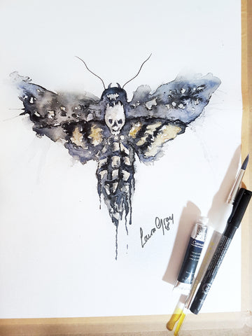 Death head moth watercolour painting