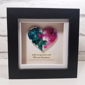 Life is a puzzle resin jigsaw heart frame