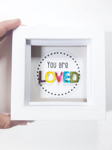 You are loved 3D resin art, positivity word frame