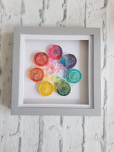 Chakra resin wall art square box frame. Watercolour print back