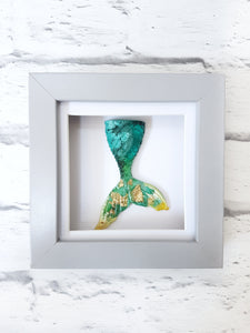 Mermaid tail resin art box frame, custom colours available