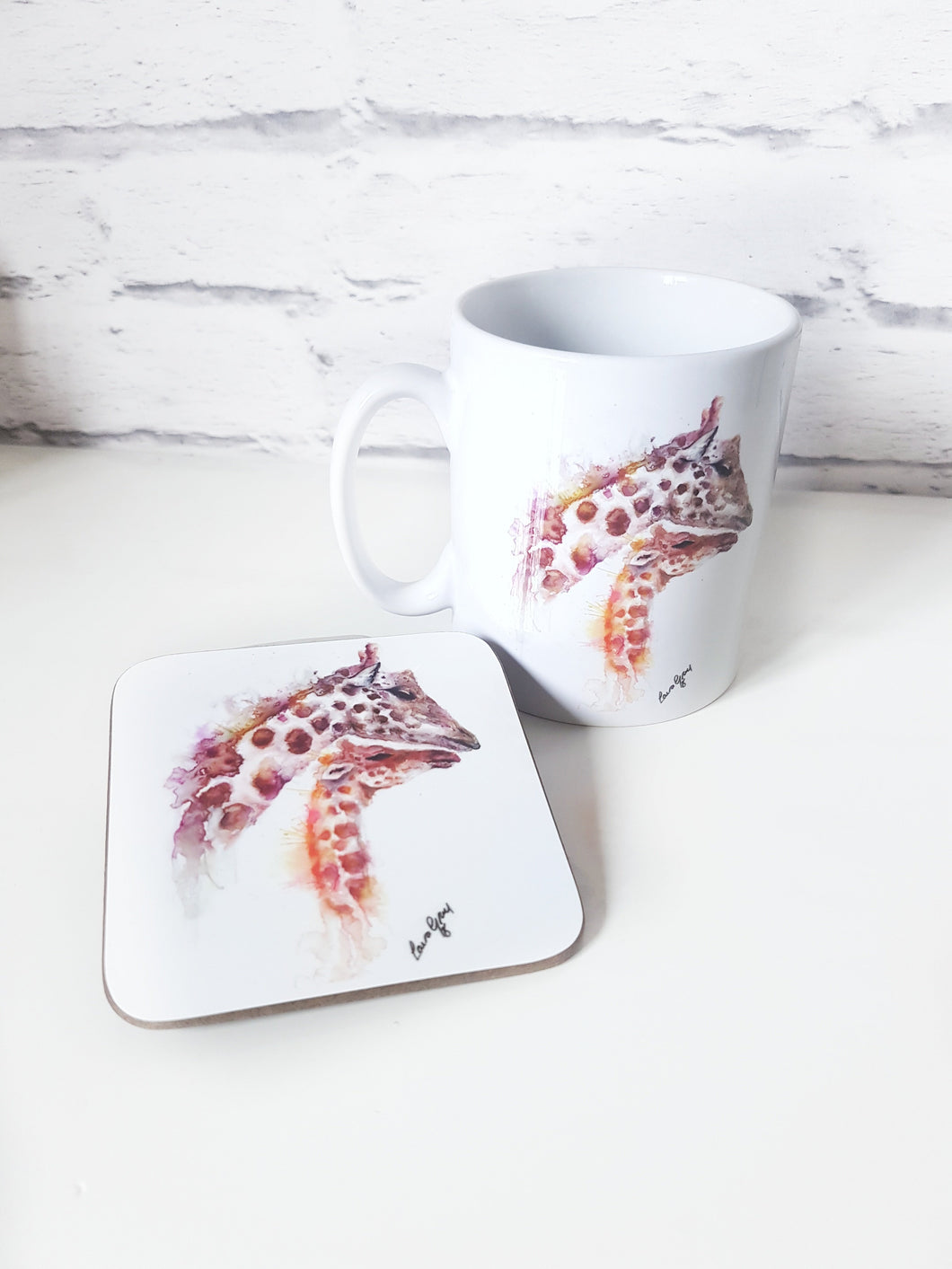 Giraffe and Baby Watercolour Mug