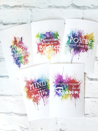 Set of 5 positive quote art prints, 6 by 4 inches