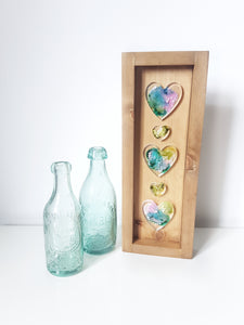 5 Heart resin art, wooden handmade frame