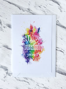 Stop underestimating yourself greeting card