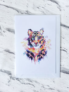 Geometric tiger greeting card
