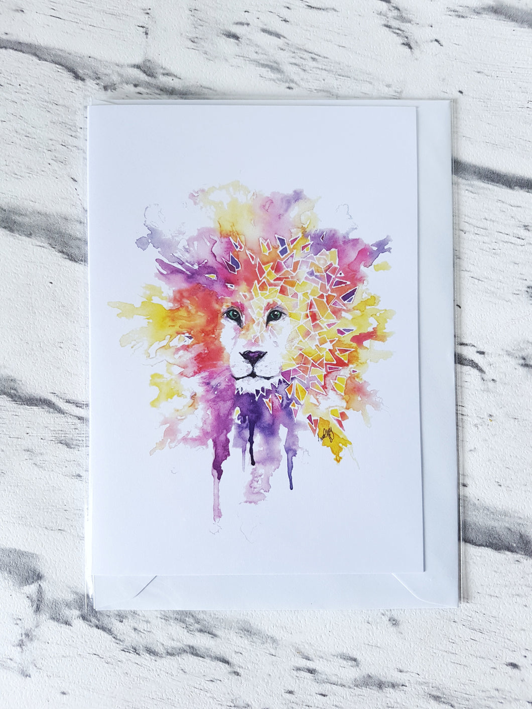 Geometric lion greeting card