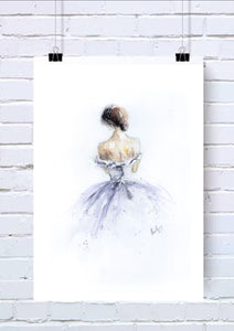 Ballerina / Bride Watercolour Wall  Art Print