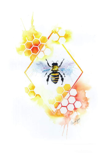 Bee Watercolour  Wall Art Print