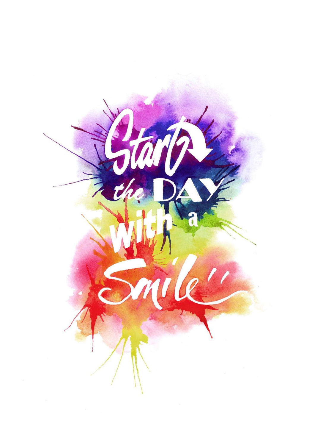 Start the day with a smile, rainbow typography positivity art print