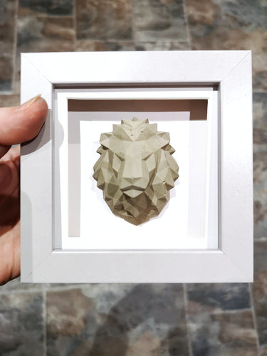 Geometric concrete lion frame