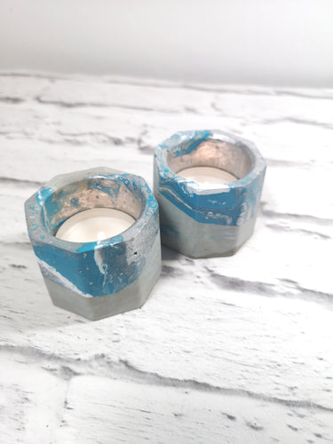 Concrete candle holder pair