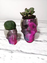 Concrete and resin geometric skull planter set