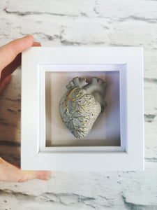 Anatomical concrete heart with accent