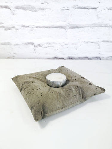 Concrete pillow effect tealight candle holder