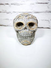 Pair of Solid large concrete sugar skull book ends. UK mainland only