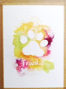 Pet portrait and name original watercolour