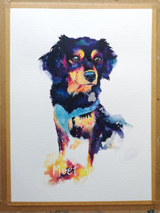 Pet portrait original watercolour painting by Inkterior Art