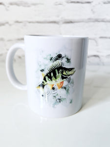 Perch watercolour fish mug