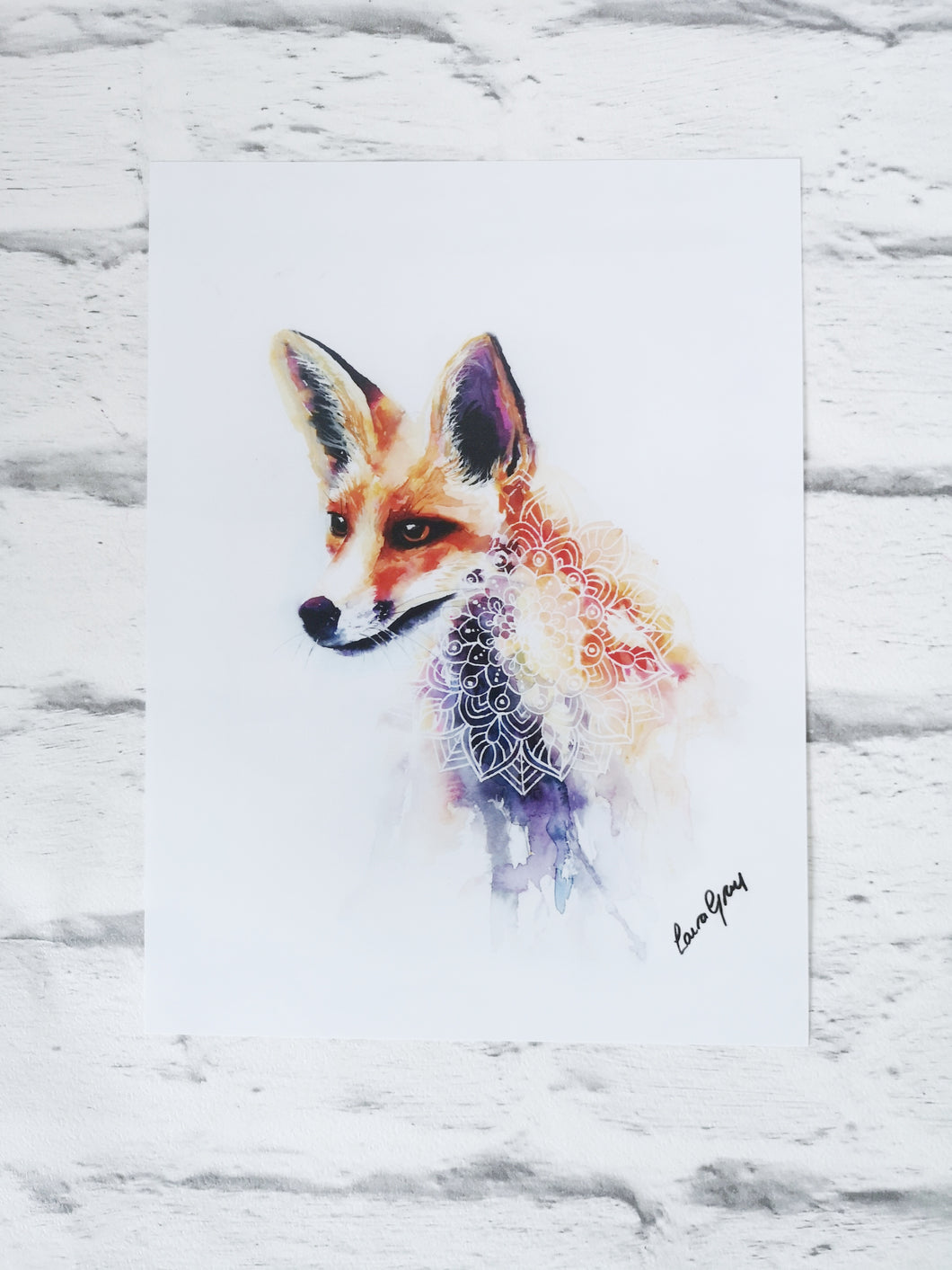 Fox Mandala Watercolour Art Prints