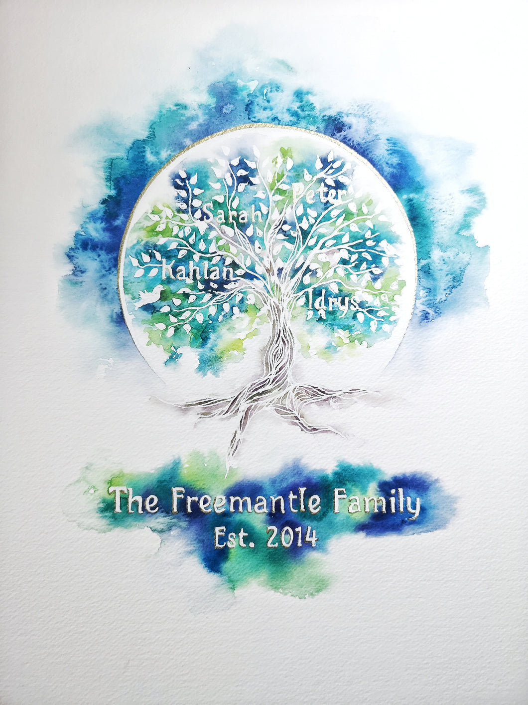 Family Tree custom watercolour original painting