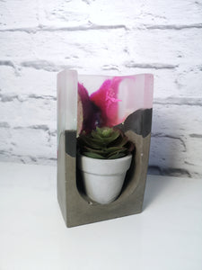 Resin and concrete tealight holder/ plant pot