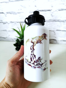 Aluminium white waterbottles with art design