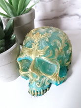 Resin filigree skull led light