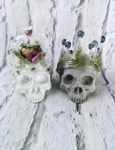 Skull King and Queen duo resin and concrete