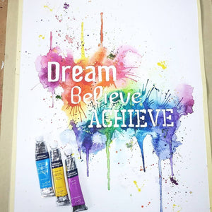 Dream believe achieve, rainbow positivity typography art print