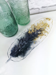 Resin Feather Trinket Dish