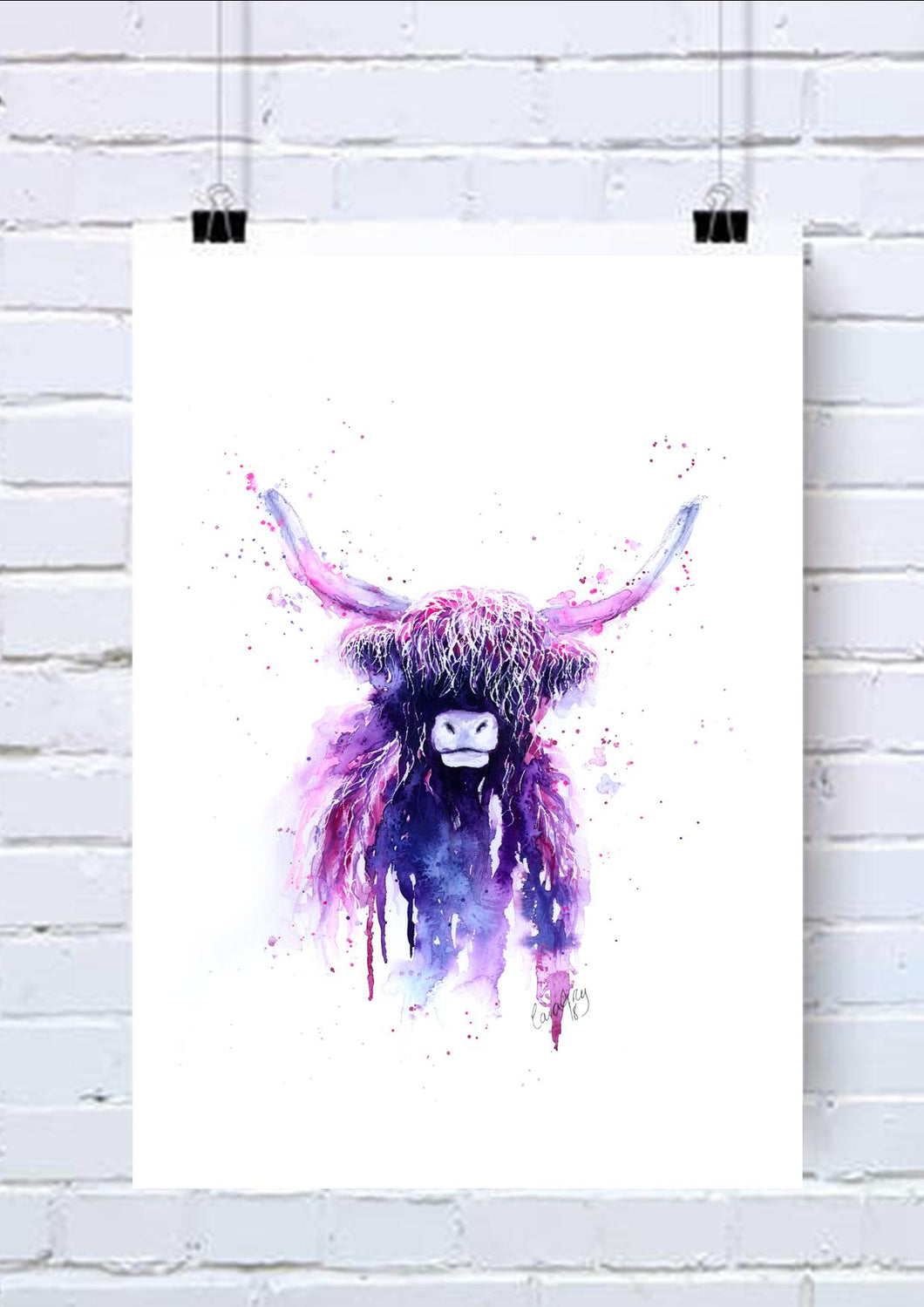 Highland Cow Watercolour Wall Art