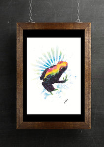 Rainbow Rainforest Frog Watercolour Art Print