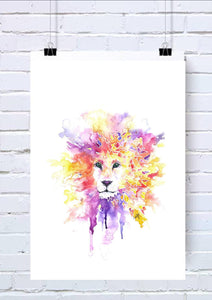Geometric Lion Watercolour Mug
