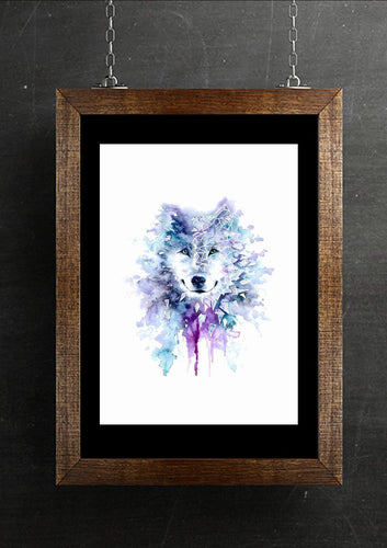 Geometric Wolf Watercolour Art Print