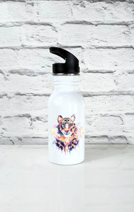 Geometric Tiger Art Handle Water Bottle