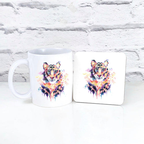 Geometric Tiger Mug & Coaster Set