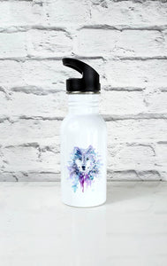 Geometric Wolf Art Handle Water Bottle